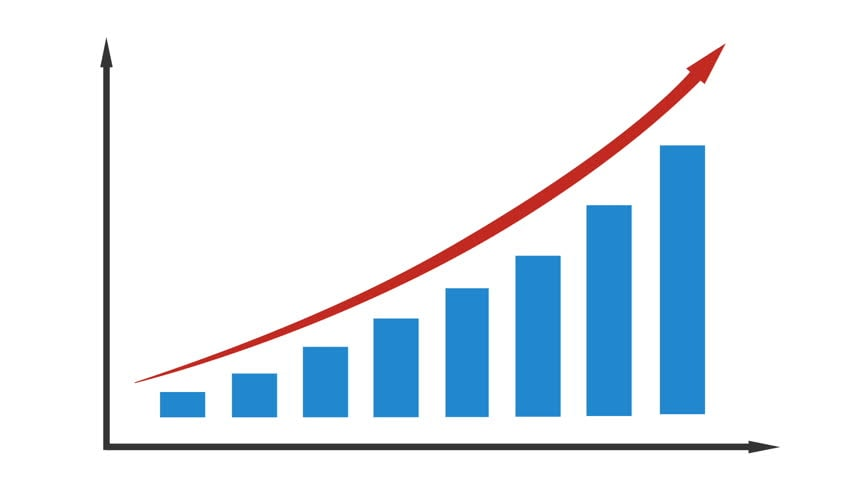 A graph rising to represent how Nuru massage has grown in popularity