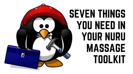 A cartoon penguin holding a toolbox