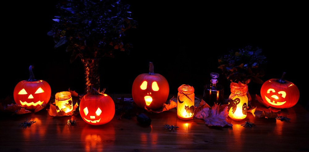 Spooky Halloween themed decorations and pumpkins