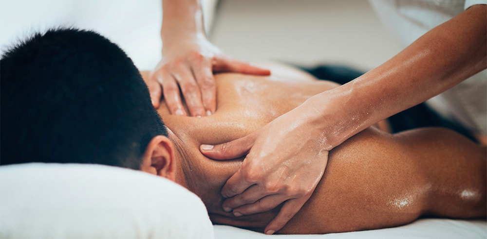 A man getting a soothing massage