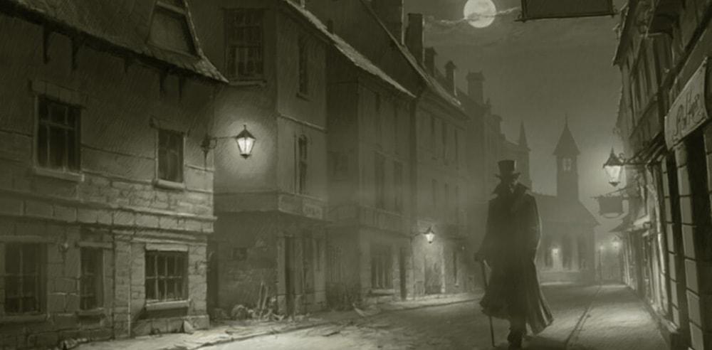 A portrait of Jack the Ripper walking down a street in London
