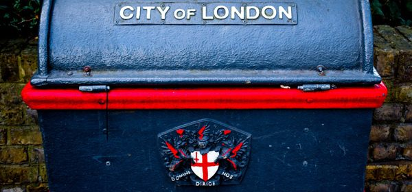 A blue bin in the City of London and close to where our massage agency is based