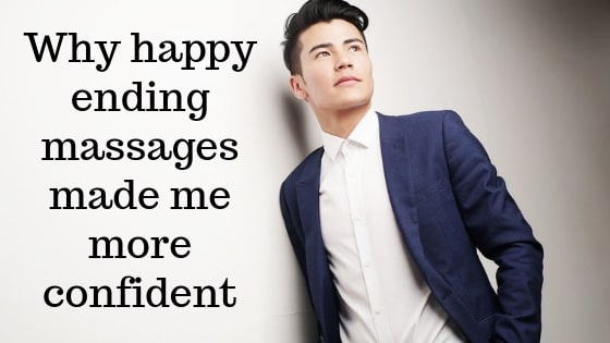 An Asian man stood up thinking about how an happy ending massage made him more confident