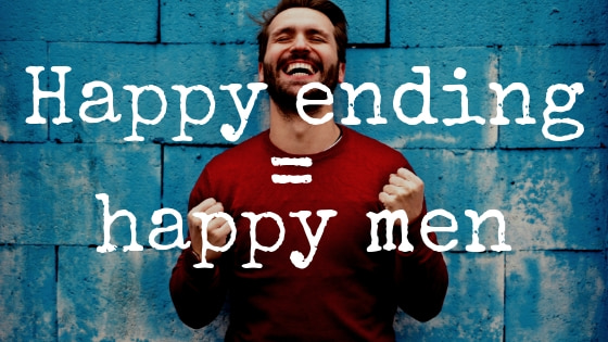 A man in a red jumper who is very happy after getting a happy ending massage